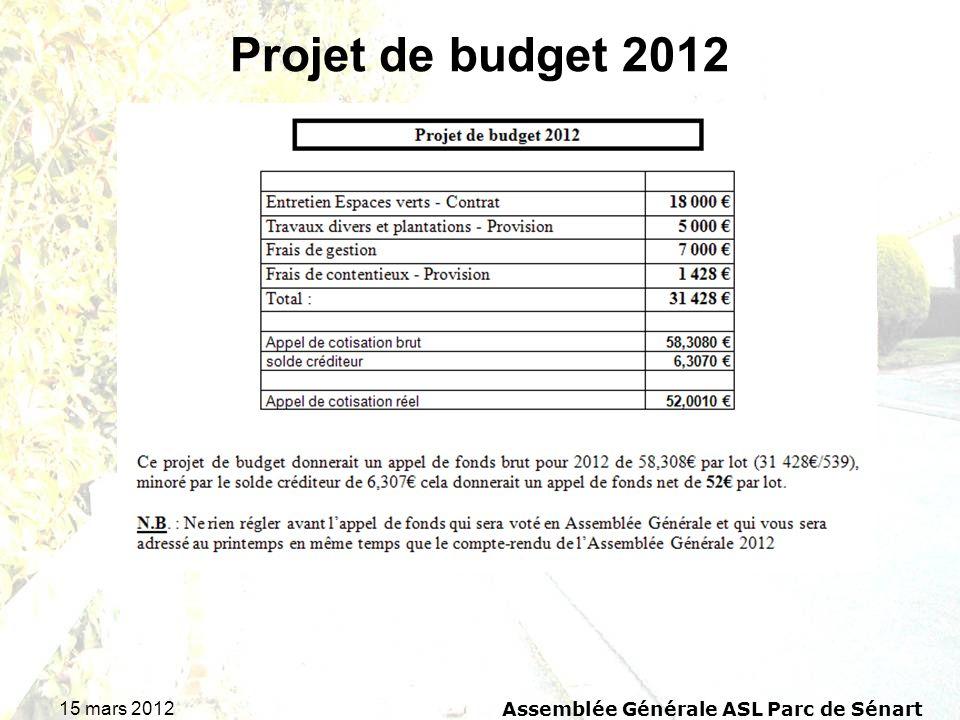 15 mars 2012 Assemblée Générale ASL Parc de Sénart Projet de budget 2012