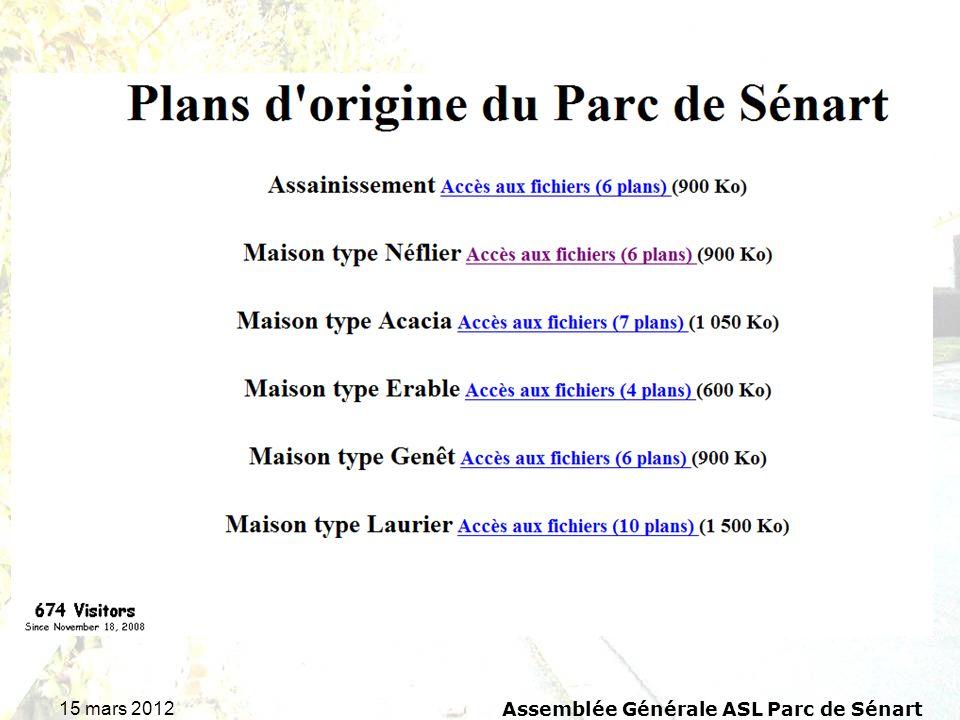 15 mars 2012 Assemblée Générale ASL Parc de Sénart