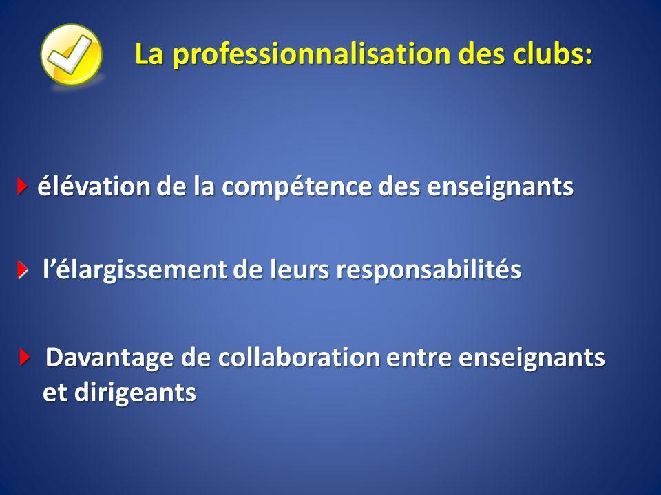 La professionnalisation des clubs: élévation de la compétence des enseignants élévation de la compétence des enseignants lélargissement de leurs respo