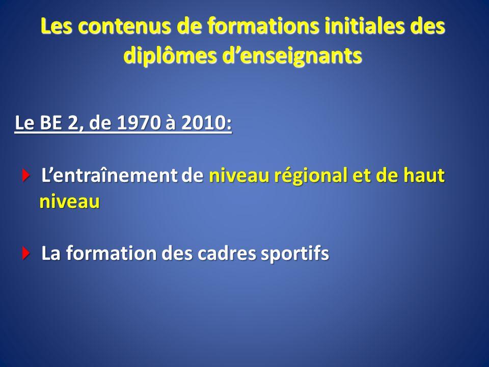 Le BE 2, de 1970 à 2010: Lentraînement de niveau régional et de haut niveau Lentraînement de niveau régional et de haut niveau La formation des cadres