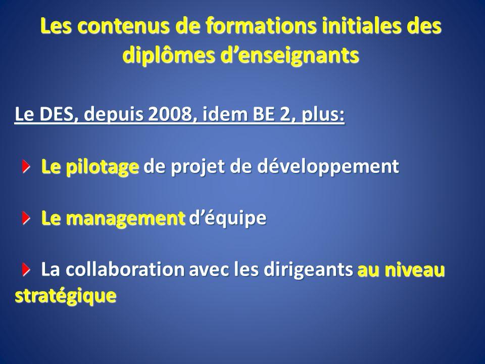 Le DES, depuis 2008, idem BE 2, plus: Le pilotage de projet de développement Le pilotage de projet de développement Le management déquipe Le managemen