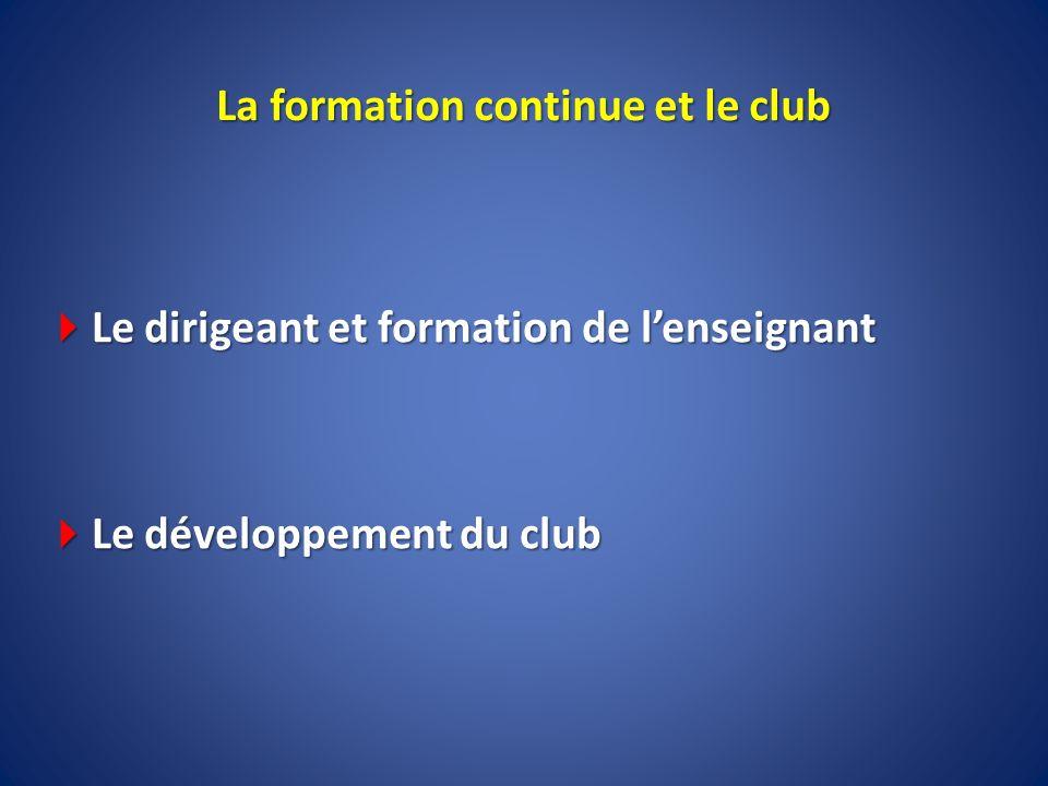 La formation continue et le club Le dirigeant et formation de lenseignant Le dirigeant et formation de lenseignant Le développement du club Le dévelop