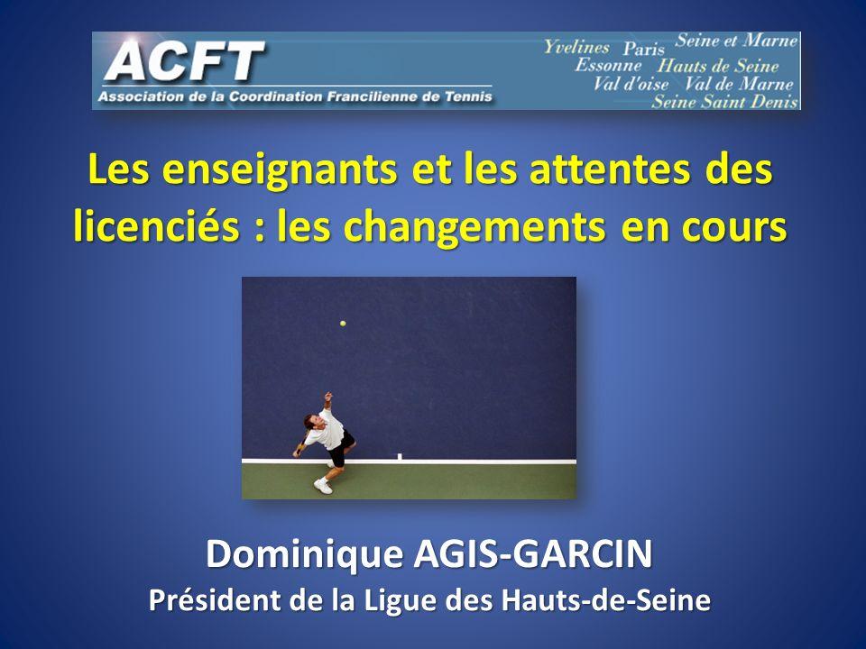 Les enseignants et les attentes des licenciés : les changements en cours Dominique AGIS-GARCIN Président de la Ligue des Hauts-de-Seine
