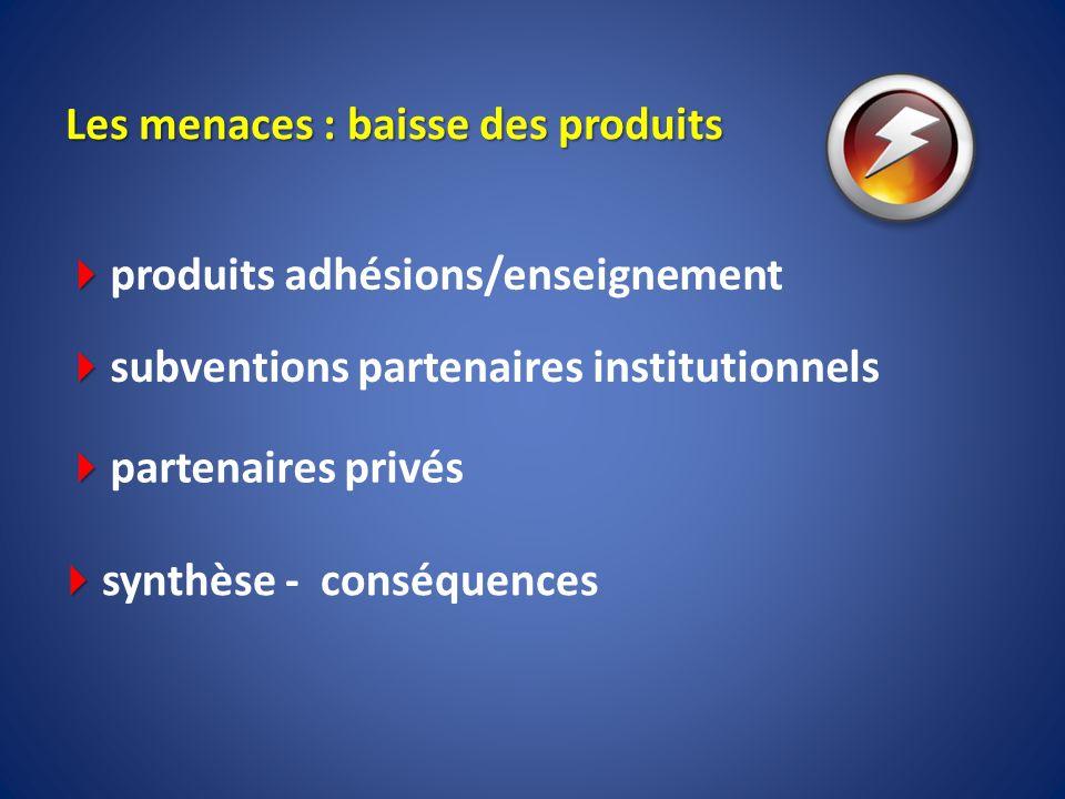 Les menaces : baisse des produits produits adhésions/enseignement subventions partenaires institutionnels partenaires privés synthèse - conséquences