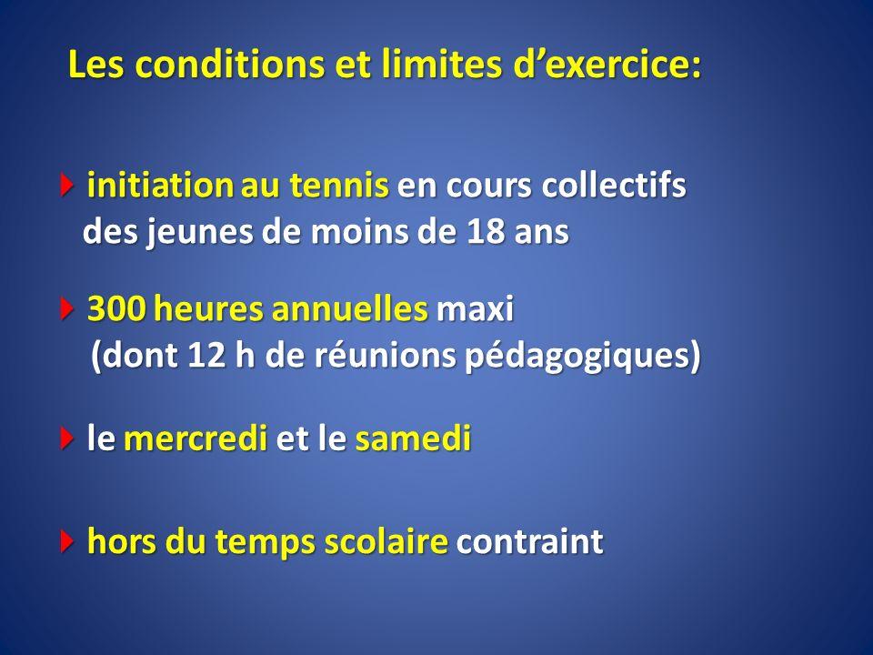 Les conditions et limites dexercice: initiation au tennis en cours collectifs des jeunes de moins de 18 ans initiation au tennis en cours collectifs d