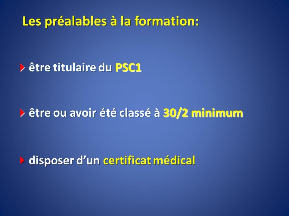 Les préalables à la formation: être titulaire du PSC1 être titulaire du PSC1 être ou avoir été classé à 30/2 minimum être ou avoir été classé à 30/2 m