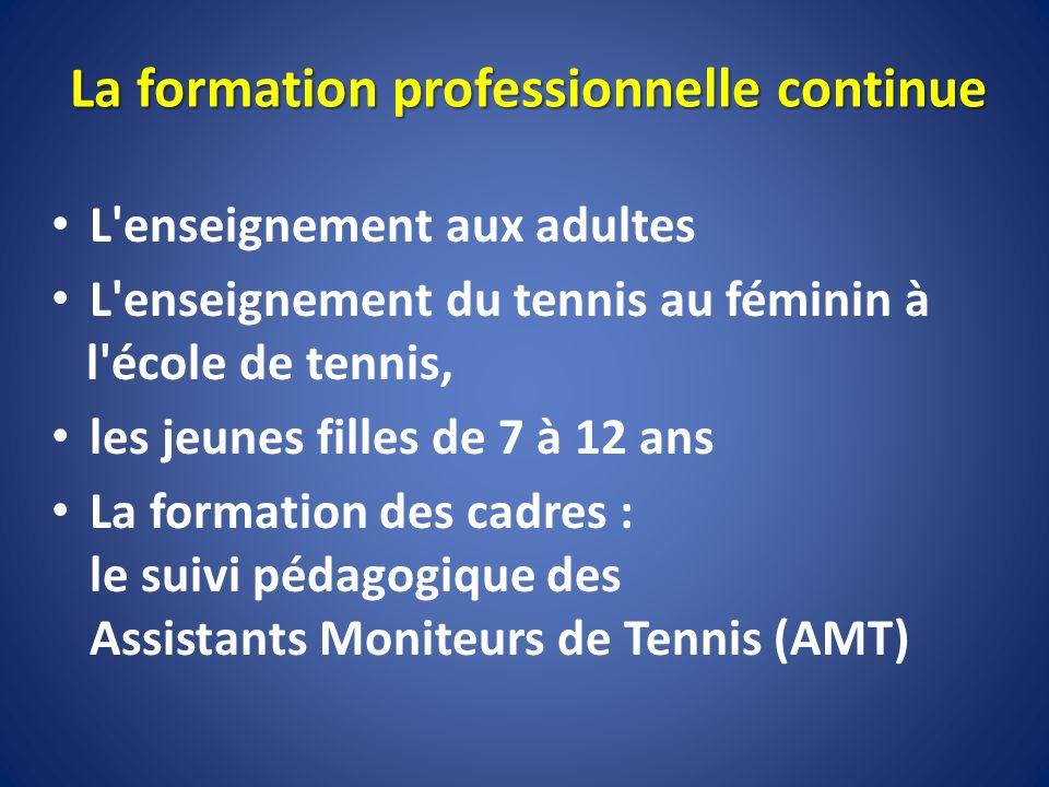 L'enseignement aux adultes L'enseignement du tennis au féminin à l'école de tennis, les jeunes filles de 7 à 12 ans La formation des cadres : le suivi