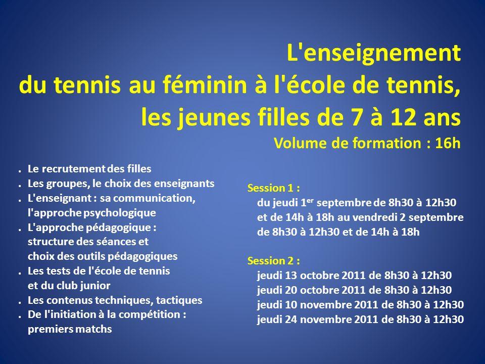 L'enseignement du tennis au féminin à l'école de tennis, les jeunes filles de 7 à 12 ans Volume de formation : 16h. Le recrutement des filles. Les gro