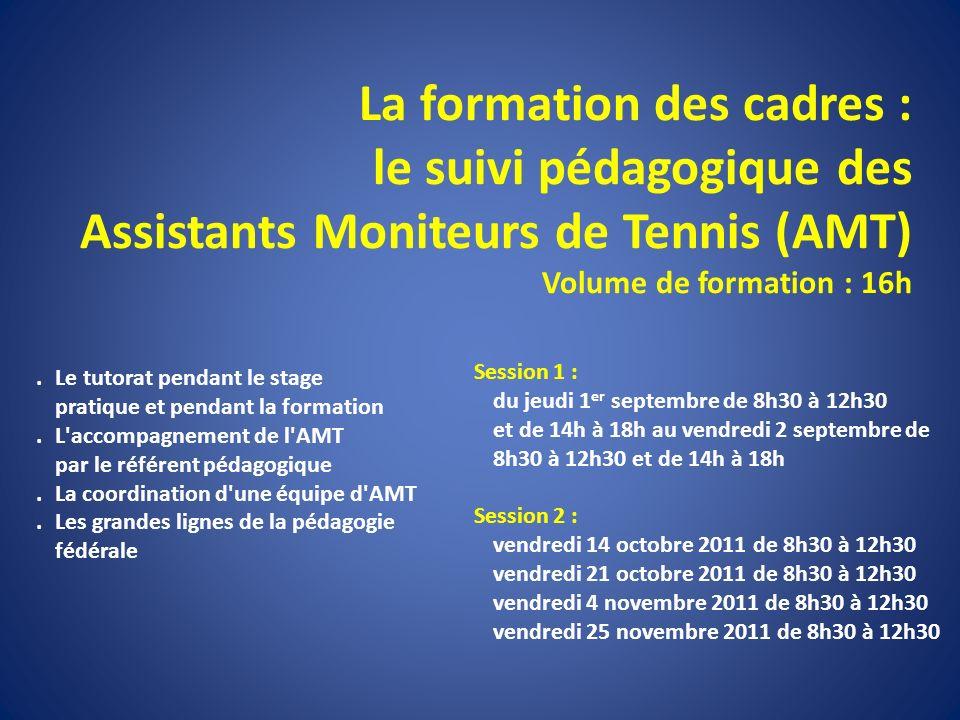 La formation des cadres : le suivi pédagogique des Assistants Moniteurs de Tennis (AMT) Volume de formation : 16h. Le tutorat pendant le stage pratiqu