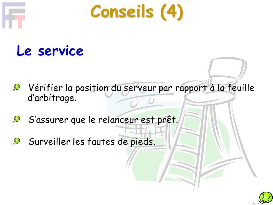 Conseils (4) Le service Vérifier la position du serveur par rapport à la feuille darbitrage.