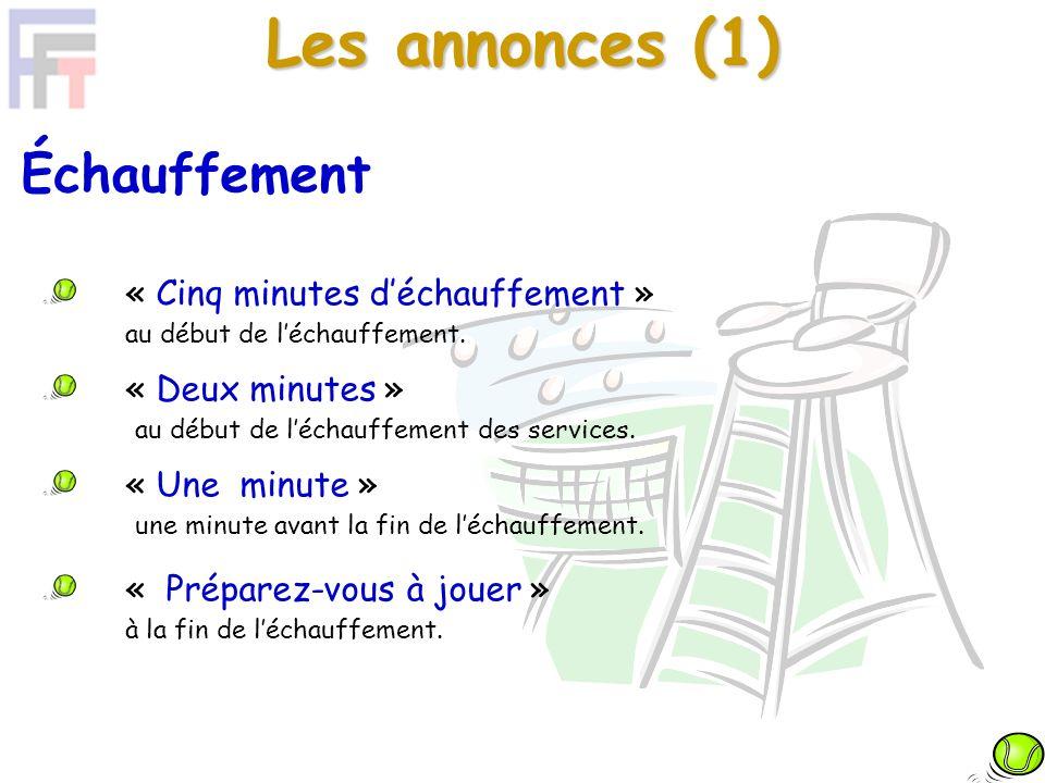 Les annonces (2) Présentation des joueurs La présentation doit être faite après lannonce « Une minute ».