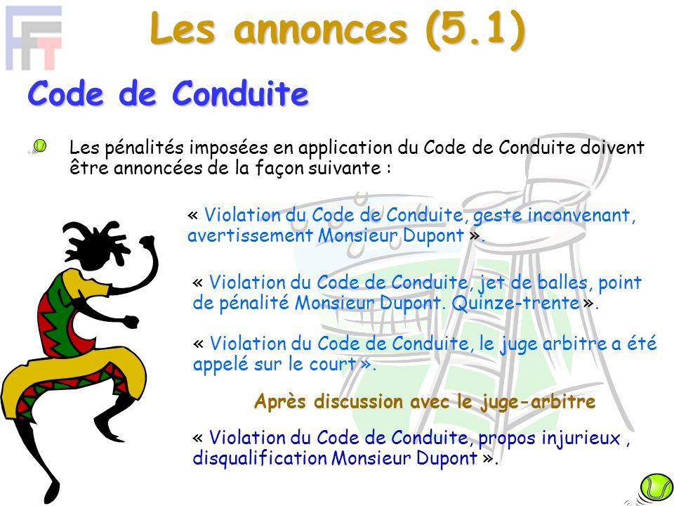Les annonces (5.2) Cette procédure est indépendante du Code de Conduite.