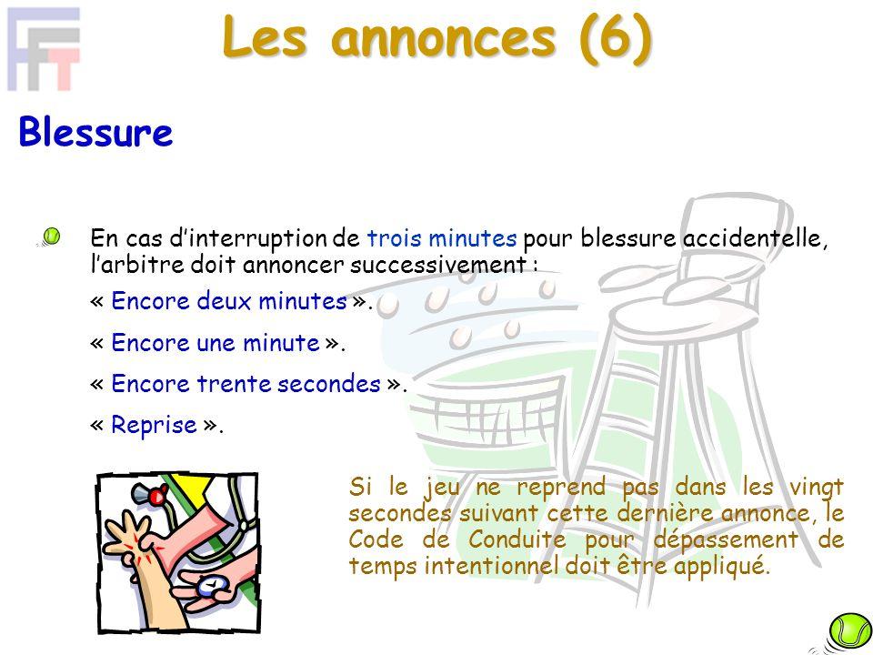 Les annonces (6) Si le jeu ne reprend pas dans les vingt secondes suivant cette dernière annonce, le Code de Conduite pour dépassement de temps intentionnel doit être appliqué.