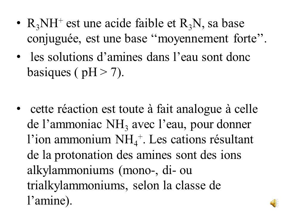 Dont la constante déquilibre : Qui est liée à la constante dacidité Ka du couple R 3 NH + / R 3 N par la relation : K a * K b = 10 -14 K b vaut enviro