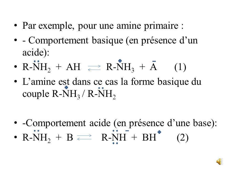 III. Propriétés acido-basiques 1. Présentation Au sens de Bronsted, les amines peuvent a priori avoir à la fois un caractère basique(accepteur de prot