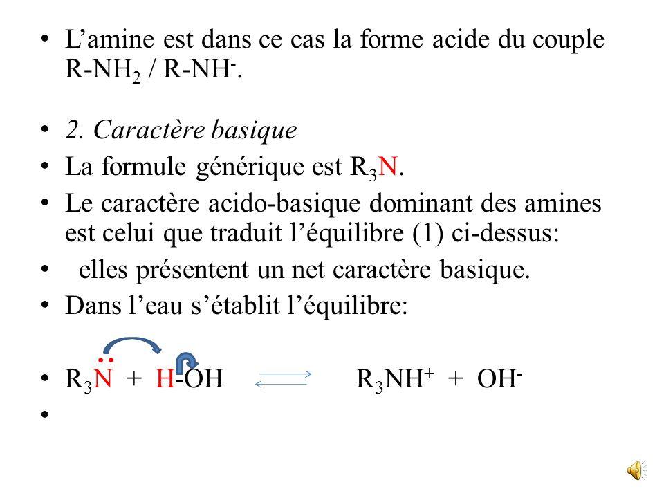 Par exemple, pour une amine primaire : - Comportement basique (en présence dun acide): R-NH 2 + AH R-NH 3 + A (1) Lamine est dans ce cas la forme basi