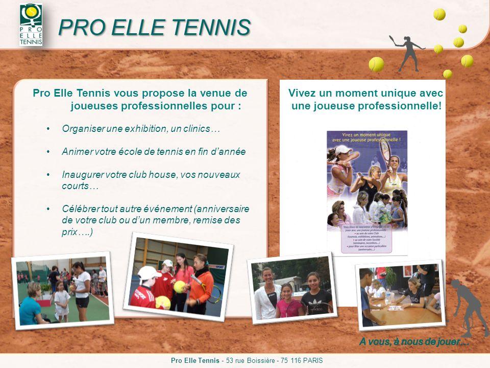 Pro Elle Tennis vous propose la venue de joueuses professionnelles pour : Organiser une exhibition, un clinics… Animer votre école de tennis en fin da