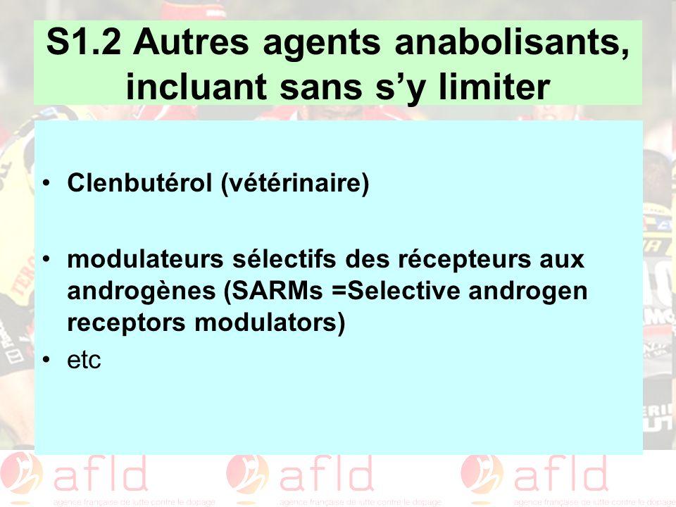 S1.2 Autres agents anabolisants, incluant sans sy limiter Clenbutérol (vétérinaire) modulateurs sélectifs des récepteurs aux androgènes (SARMs =Select