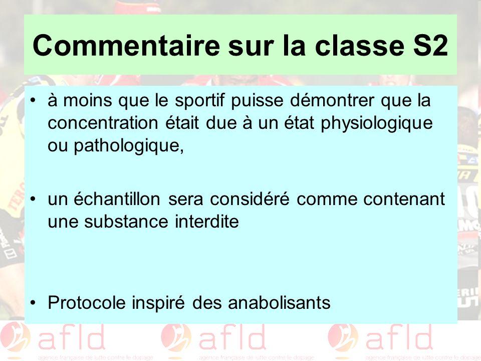 Commentaire sur la classe S2 à moins que le sportif puisse démontrer que la concentration était due à un état physiologique ou pathologique, un échant