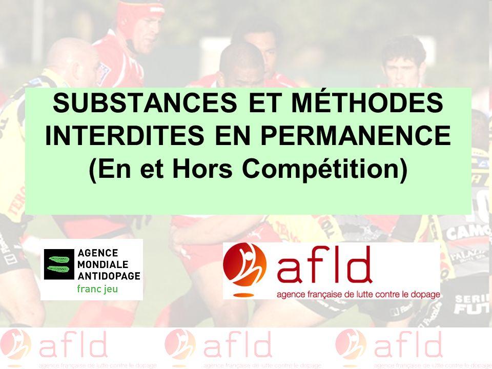 SUBSTANCES ET MÉTHODES INTERDITES EN PERMANENCE (En et Hors Compétition)