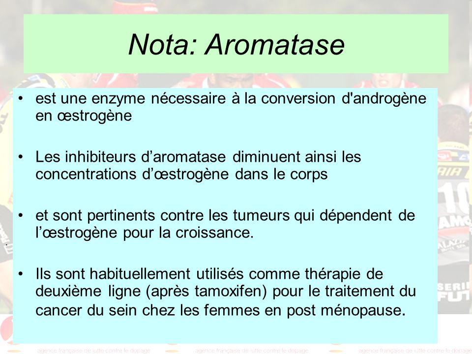 . Nota: Aromatase est une enzyme nécessaire à la conversion d'androgène en œstrogène Les inhibiteurs daromatase diminuent ainsi les concentrations dœs