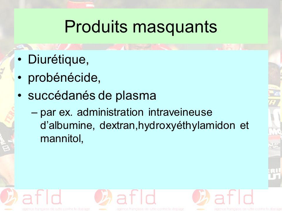Produits masquants Diurétique, probénécide, succédanés de plasma –par ex. administration intraveineuse dalbumine, dextran,hydroxyéthylamidon et mannit