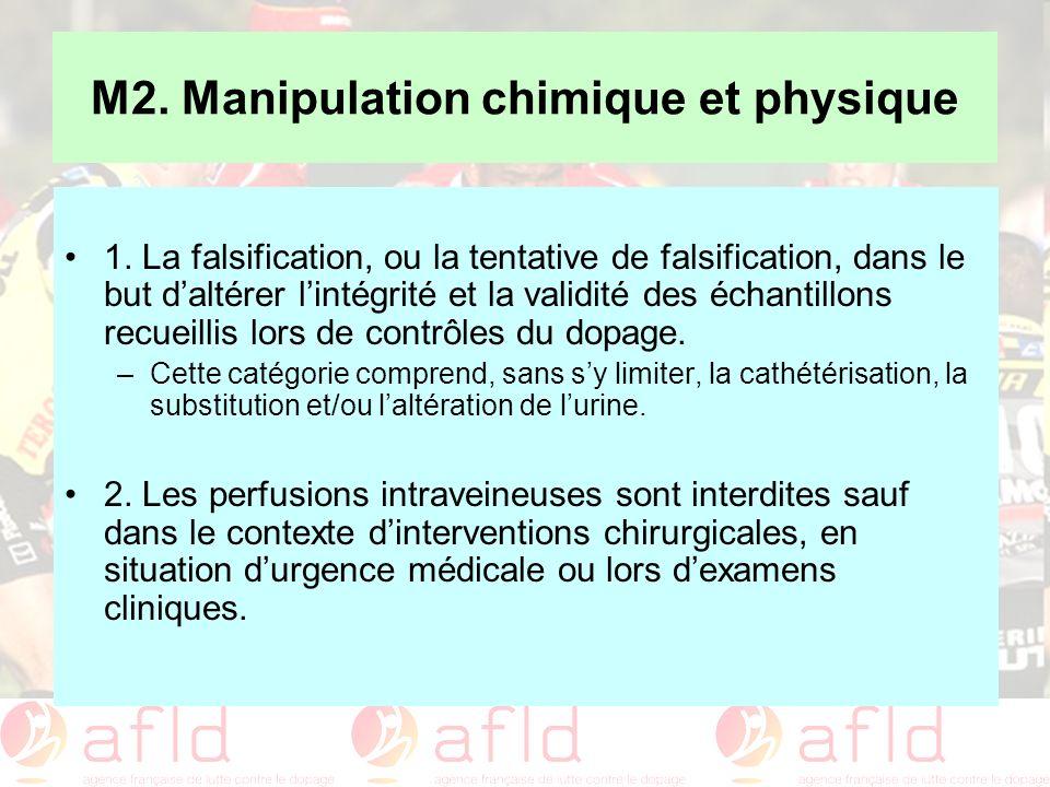 M2. Manipulation chimique et physique 1. La falsification, ou la tentative de falsification, dans le but daltérer lintégrité et la validité des échant
