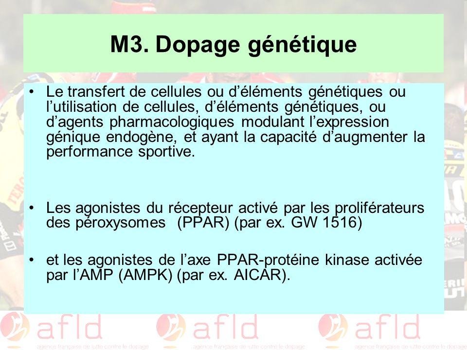 M3. Dopage génétique Le transfert de cellules ou déléments génétiques ou lutilisation de cellules, déléments génétiques, ou dagents pharmacologiques m