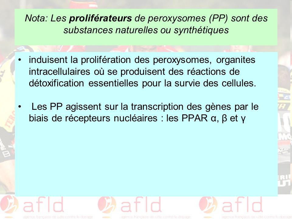 Nota: Les proliférateurs de peroxysomes (PP) sont des substances naturelles ou synthétiques induisent la prolifération des peroxysomes, organites intr