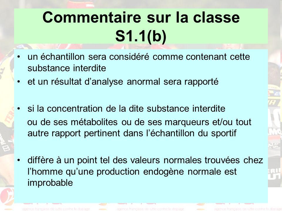Commentaire sur la classe S1.1(b) un échantillon sera considéré comme contenant cette substance interdite et un résultat danalyse anormal sera rapport