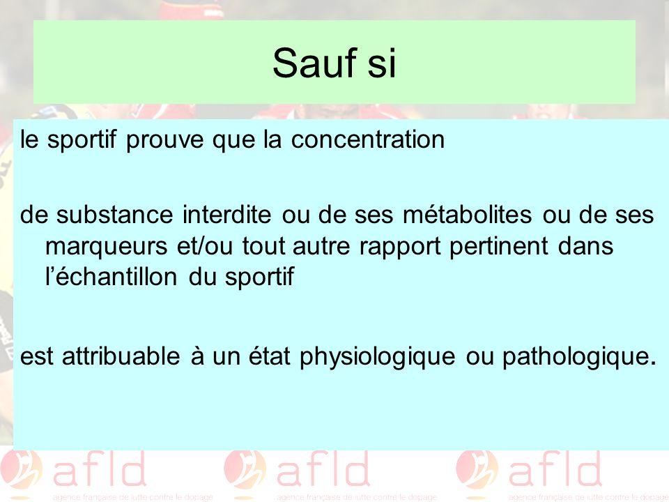 Sauf si le sportif prouve que la concentration de substance interdite ou de ses métabolites ou de ses marqueurs et/ou tout autre rapport pertinent dan