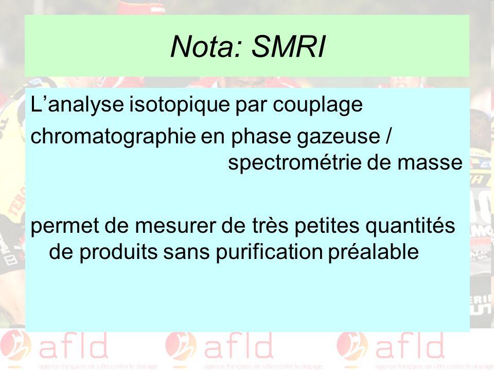 Nota: SMRI Lanalyse isotopique par couplage chromatographie en phase gazeuse / spectrométrie de masse permet de mesurer de très petites quantités de p