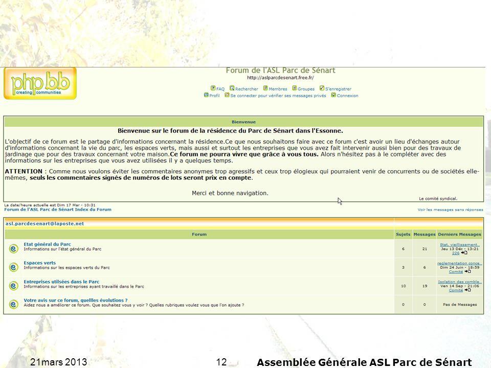 1221mars 2013Assemblée Générale ASL Parc de Sénart