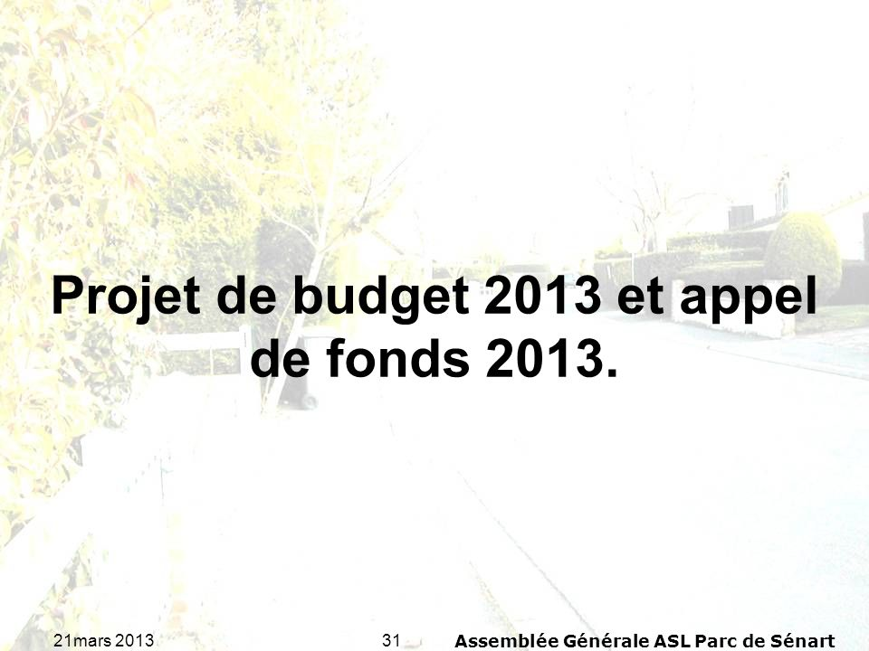 3121mars 2013Assemblée Générale ASL Parc de Sénart Projet de budget 2013 et appel de fonds 2013.