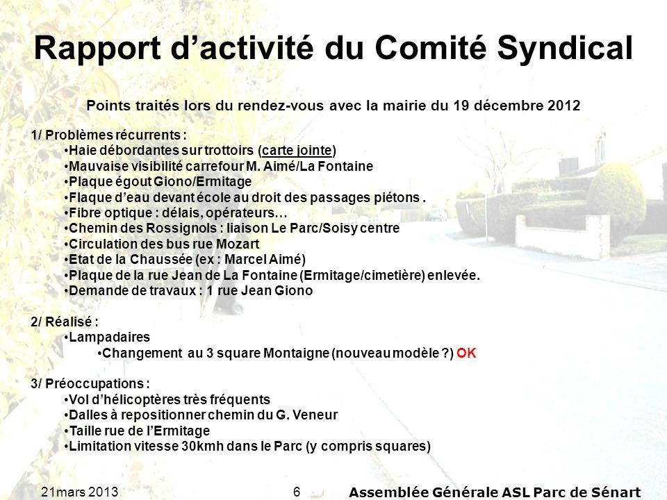 621mars 2013Assemblée Générale ASL Parc de Sénart Rapport dactivité du Comité Syndical Points traités lors du rendez-vous avec la mairie du 19 décembr