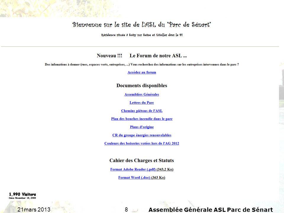1921mars 2013Assemblée Générale ASL Parc de Sénart TOTAL : 7demandes Rapport concernant les demandes de travaux