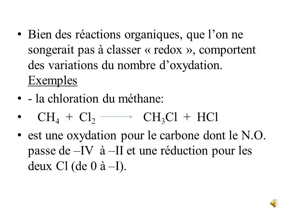 Avec trois e- externes, soit un de moins que dans latome neutre, le carbone porterait une charge +1, et son N.O. est +I. II. Réactions doxydoréduction