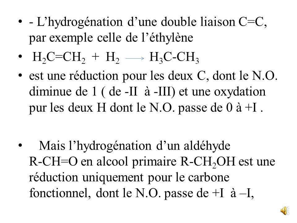 Bien des réactions organiques, que lon ne songerait pas à classer « redox », comportent des variations du nombre doxydation. Exemples - la chloration