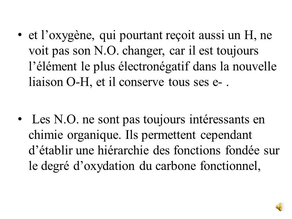 - Lhydrogénation dune double liaison C=C, par exemple celle de léthylène H 2 C=CH 2 + H 2 H 3 C-CH 3 est une réduction pour les deux C, dont le N.O. d