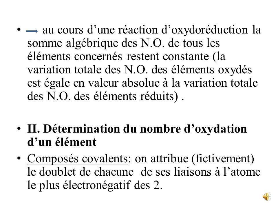 au cours dune réaction doxydoréduction la somme algébrique des N.O.