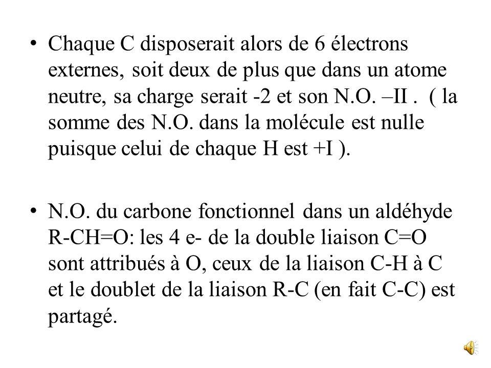 Chaque C disposerait alors de 6 électrons externes, soit deux de plus que dans un atome neutre, sa charge serait -2 et son N.O.