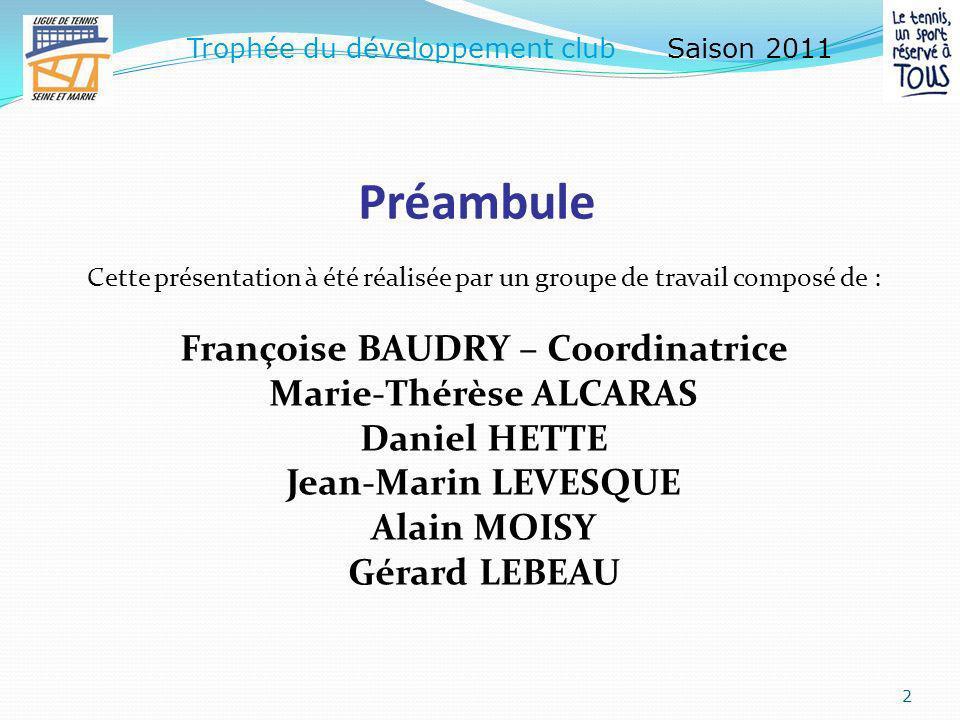 « Trophée du développement club » 1 Saison 2011