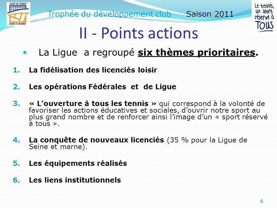 I - Points licences 5 Trophée du développement club Saison 2011 Pour évaluer la dynamique passée et actuelle du Club, les « points licences » sont calculés à partir des évolutions sur: La période passée : saisons N-3 à N-1, et, La période en cours avec la comparaison des saisons : N-1 à N.