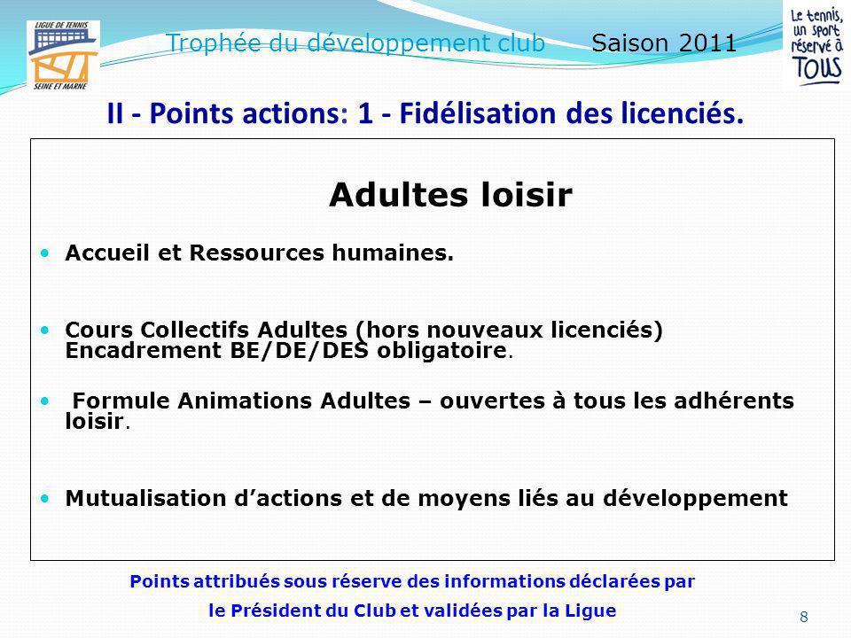 II - Points actions: 1 - Fidélisation des licenciés. Actions vis-à-vis des « nouveaux licenciés adultes » Accueil et suivi des « nouveaux licenciés ad