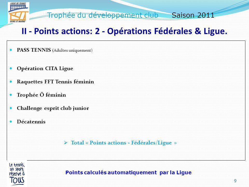 II - Points actions: 1 - Fidélisation des licenciés.