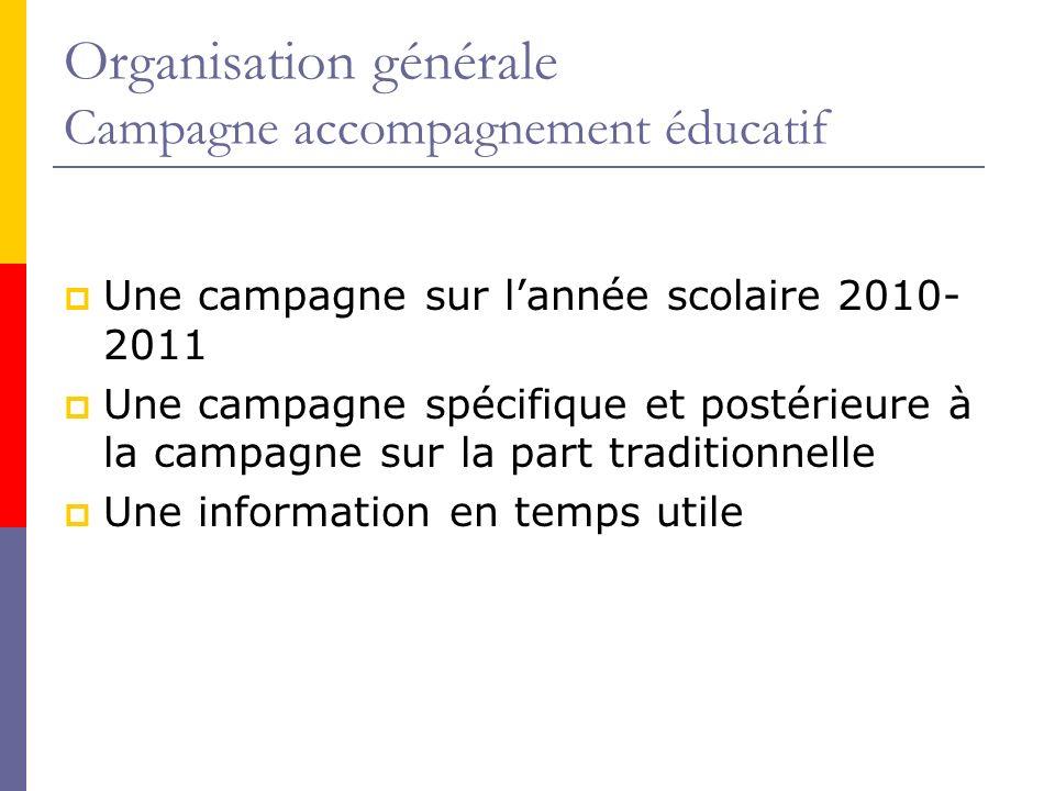 Organisation générale Campagne accompagnement éducatif Une campagne sur lannée scolaire 2010- 2011 Une campagne spécifique et postérieure à la campagne sur la part traditionnelle Une information en temps utile