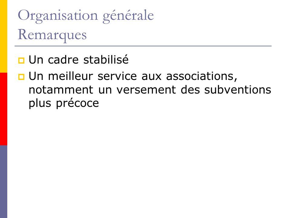 Organisation générale Remarques Un cadre stabilisé Un meilleur service aux associations, notamment un versement des subventions plus précoce