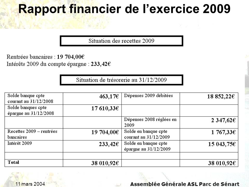 11 mars 2004 Assemblée Générale ASL Parc de Sénart Rapport financier de lexercice 2009