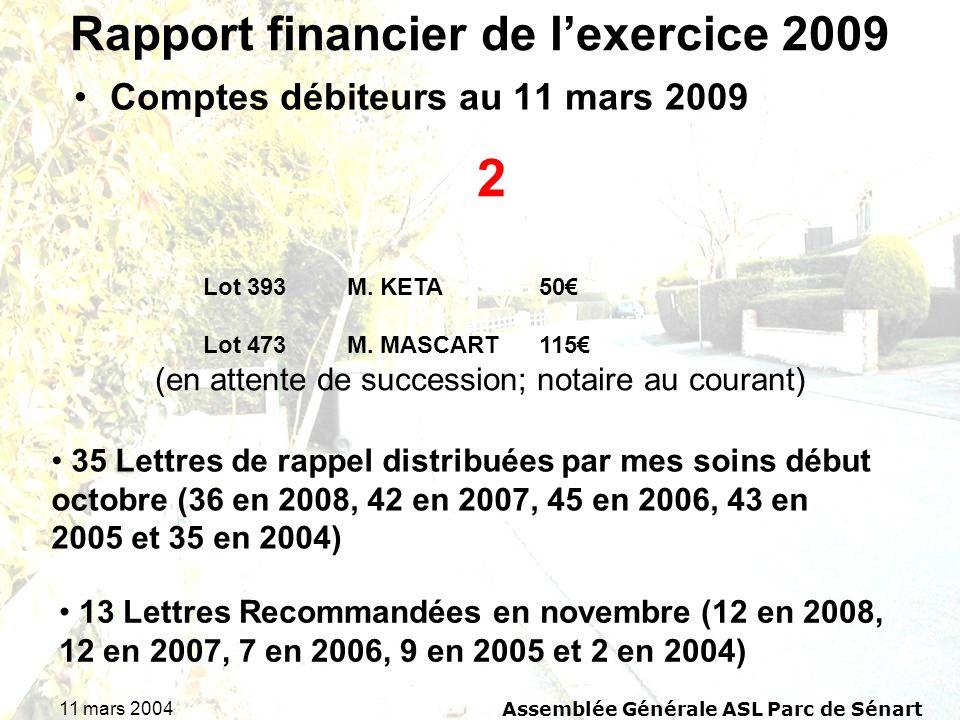 11 mars 2004 Assemblée Générale ASL Parc de Sénart Rapport financier de lexercice 2009 Comptes débiteurs au 11 mars 2009 2 Lot 393M. KETA50 Lot 473M.