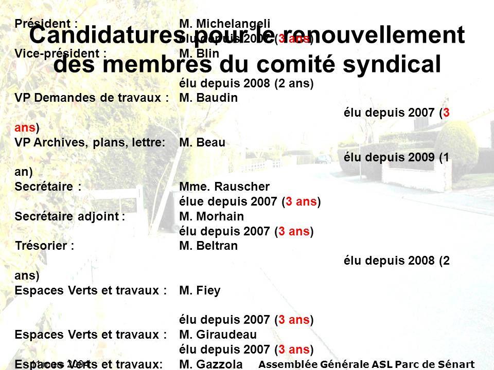 11 mars 2004 Assemblée Générale ASL Parc de Sénart Candidatures pour le renouvellement des membres du comité syndical Rappel du comité syndical 2009 : Président : M.